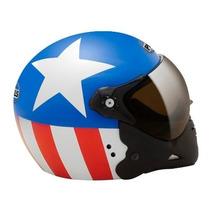 Capacete Capitão América Motoqueiro Peels F-21 Azul