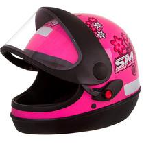 Capacete Pro Tork Sport Moto Fechado Feminino Rosa 56 Touca