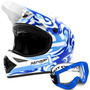 Capacete Mirage Pro Tork Cross Azul Trilha + Óculos Azul