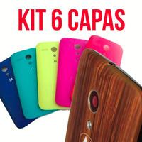 Kit Moto G1 - 5 Case Tampa Bateria Color + 1 Estilo Madeira