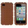 Capa Silicone - Iphone 4 4g 4s - Bolacha Marrom + Brindes