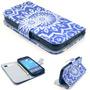 Capa Case Carteira Flip Azul E Branca Galaxy S4 Mini I9190