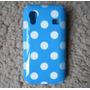 Capa Case Galaxy Ace S5830 Bolinha Polka Azul + Presente