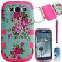 Capa Case Samsung Galaxy S3 Iii Rosa Flor Protetora Dupla