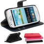 Capa Carteira Couro Galaxy S3 Slim Duos G3812 Película Vidro