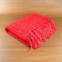 Manta De Sofá Em Tear Manual - Chenille Vermelha