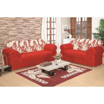 Capa De Sofa Estampada 3x2 Lugares 21 Elastico Vermelho