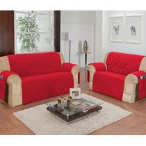Kit Protetor De Sofá Vermelho Para 3 E 2 Lugares Decoração