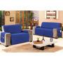 Protetor Sofá Azul Para 2 E 3 Lugares Tecido Microfibra