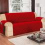 Capa Protetor Sofa Na Cor Vermelho 3 Lugares Em Microfibra