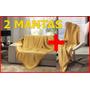 Kit 2 Mantas Para Sofá Dohler Grande E Pequena Amarela Gold