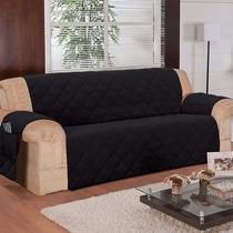 Capa Protetor Sofa Na Cor Preto 3 Lugares Em Microfibra