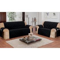 Protetor De Sofa Charme 3 E 2 Lugares Microfibra Preto