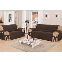 Protetor De Sofa Com Laço 3 E 2 Lugares Microfibra Tabaco