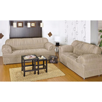 Capa De Sofa Em Malha 3 E 2 Lugares Avelã 21 Elasticos