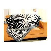 Kit Manta Decorativa Zebra 1x1,50m Com 2 Capas De Almofada