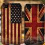 Capa Case Iphone 5 5g Bandeiras Eua E Inglaterra + Película