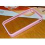 Capa Iphone 4 4s Transparente Com Bumper Rosa