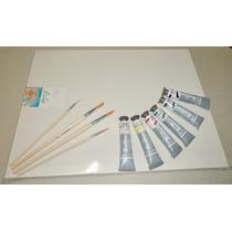 Kit Básico Pintura - Tela Painel Pincel Tinta