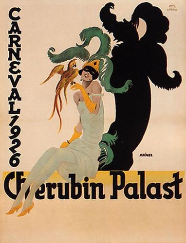 Carnaval Fantasia Cherubin Palast Mulher Poster Repro