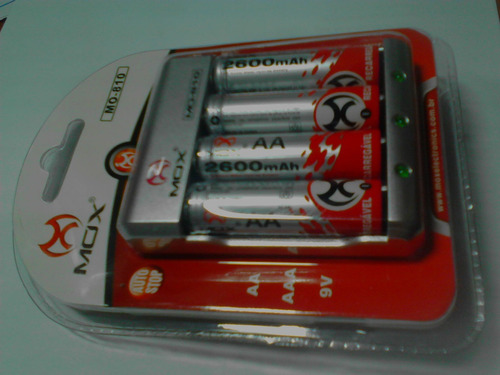 Carregador Bivolt Mox + 4 Pilhas Aa 4300 Mah