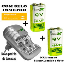 Kit Carregador Pilha Aaa Aa 9v + 2 Baterias Recarregável