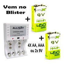 Kit9 Carregador Pilha Aaa Aa 9v + 2 Baterias 450mah + Nfe
