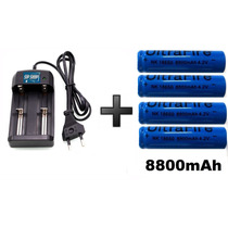 Carregador Duplo+4 Bateria Recarregável 18650 8800 Mah 4.2v