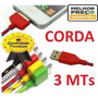 Cabo Usb Colorido Trançado Reforçado Iphone 4 4s Ipod 3mt