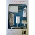 Kit 5 In 1 Carregador Para Iphone 4/4s Ou 3/s + Capa Iphone