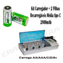 Kit Carregador Fx-c06 + 2 Pilhas Médias C 2900mah Rec + Nf-e