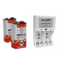 Kit Carregador Allight + 2 Baterias 9v 320mah Recarregaveis