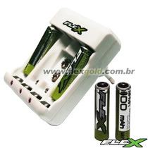 Carregador De Pilhas C/ 2aa/2aaa E Bateria 9v Flex Fx-c14