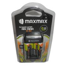 Carregador Portátil + 2 Pilhas Aa + Aaa Recarregavel Maxmax