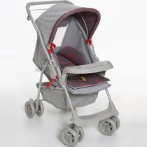 Carrinho De Bebê Milano Reversível Cinza/ Vermelho - 4babies
