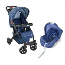 Carrinho De Bebê + Bebê Conforto Athena Azul Galzerano