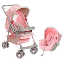 Carrinho Com Bebê Conforto Rosa Travel System Galzerano