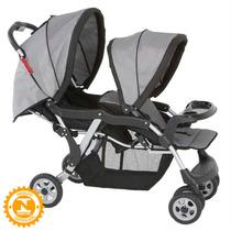 Carrinho De Bebê Twin Para Gêmeos Cinza Galzerano - 4babie