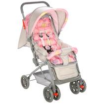 Carrinho De Bebê Funny Com Encosto Reclinável Rosa