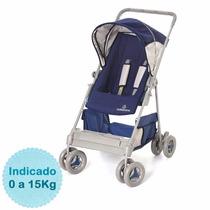 Carrinho Bebe Passeio Riviera Reclinável Azul Galzerano