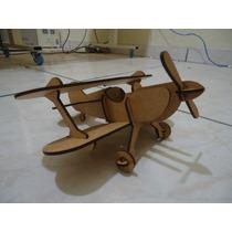 Avião Biplano Madeira Mdf Puzzle 3d