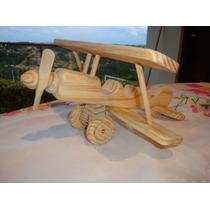 Avião Ou Moto / Brinquedos De Madeira Artesanais