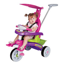 Triciclo Infantil Fit Trike Rosa Com Haste E Som Magic Toys