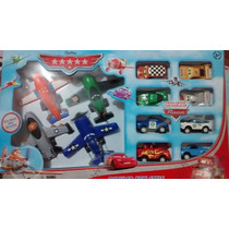 Kit 4 Aviões Disney Cars + 8 Carros Cars Dusty Mate Mcqueen