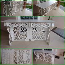 Mesa Comprida Provençal Branca Desmontavel Arabesco
