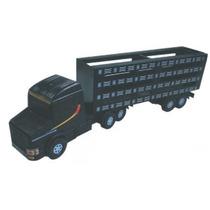 Caminhão Carreta Boiadeira Plástico Madeira Brinquedo Premiu