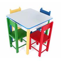 Mesa Com 4 Cadeiras Infantil Madeira E Mdf 5017 Carlu