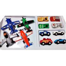 Kit 4 Aviões + 8 Carrinhos Cars Carros Disney Rochel Mcqueen