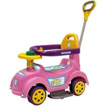 Carrinho Andador Infantil Passeio Criança Rosa Haste Empurra