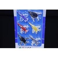 Aviao (6pcs) Plast Color Battle Plane